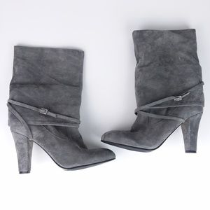 Enzo Angiolini Eaemme Grey Suede Mid-Calf Boots